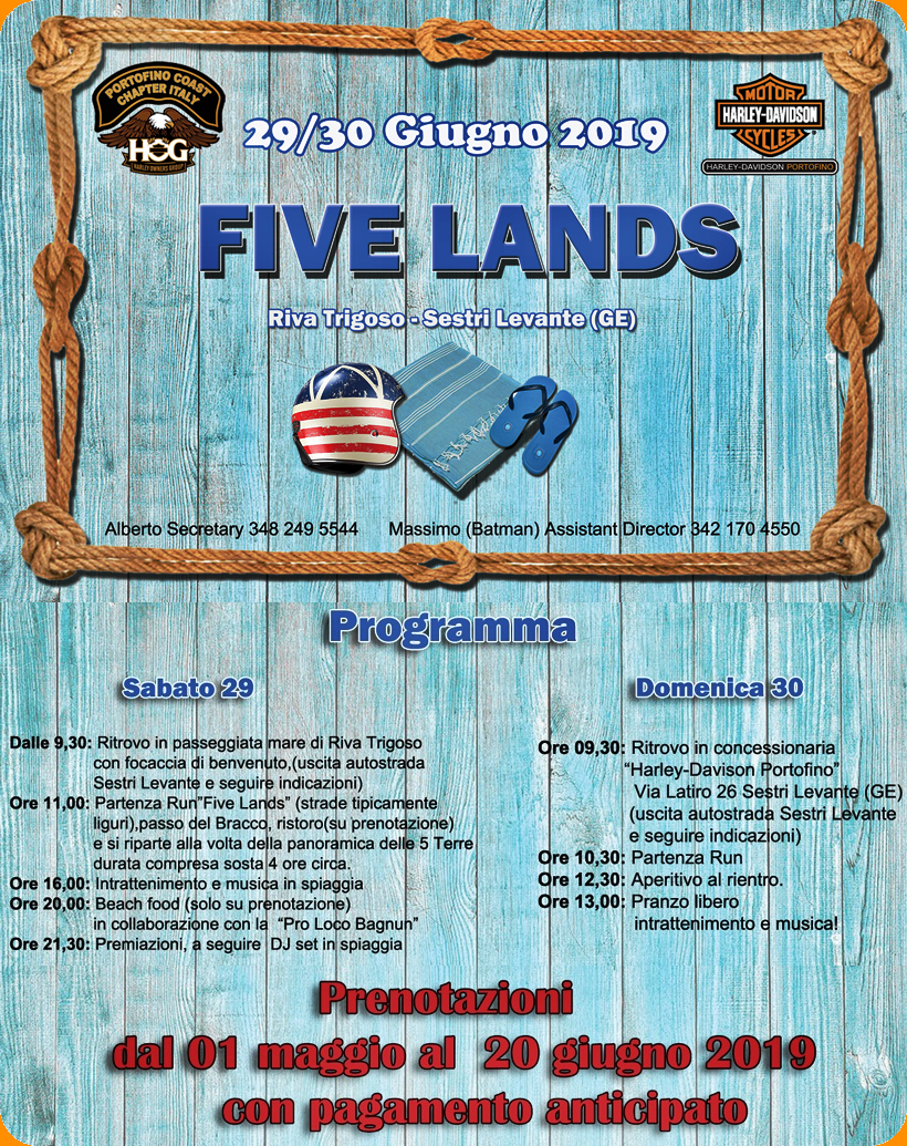 Five Lands, tutti in moto!