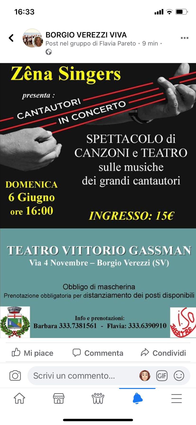 Appuntamento Zena Singers , domenica 6 giugno  Borgio Verezzi